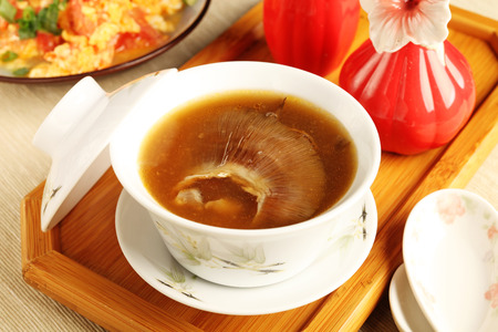 Table set with shark fin soup