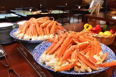 seafood platter: Crabs legs on a buffet table    Stock Photo