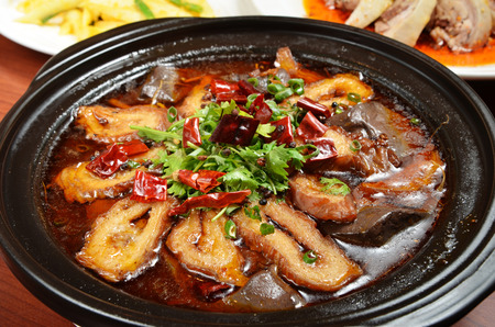 spicy food: Chinese food- Spicy pig intestines pot