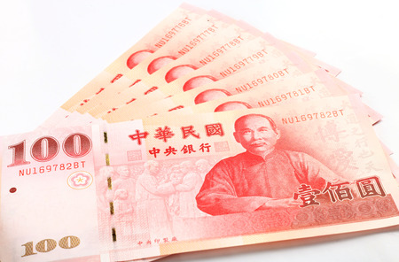 nt: A lot of 100 New Taiwan Dollar bill on white background