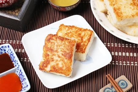 Gestoomde raap cake, Chinees eten. Stockfoto