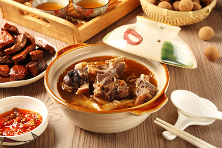 The delicious traditional mutton hot pot. Stock Photo