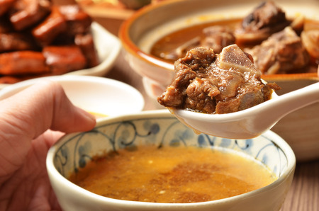 mutton: The delicious traditional mutton hot pot. Stock Photo