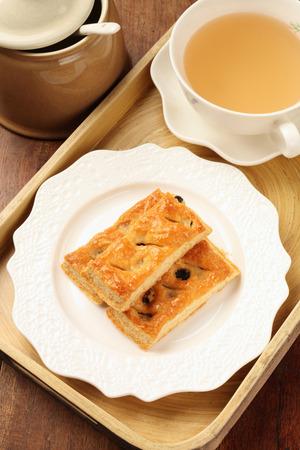 multilayer: Maple sugar raisins multi-layer  biscuits on white plate