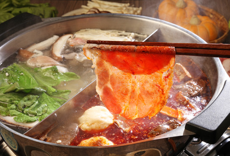 spicy: double flavor hot pot Stock Photo