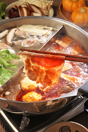 pots: double flavor hot pot Stock Photo
