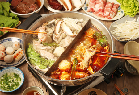 double flavor hot pot Archivio Fotografico