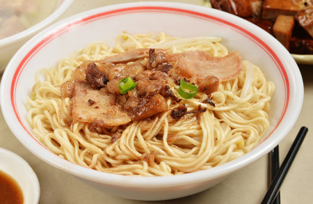 mian: Dry noodles  with meat on the table Stock Photo