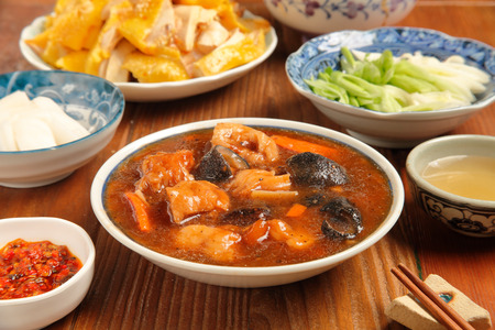 sea cucumber: Chinese cuisine - Sea cucumber stewed pork leg Stock Photo