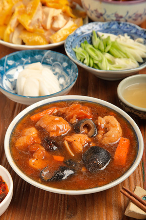 sea cucumber: Chinese cuisine - Sea cucumber stewed pork leg Stock Photo