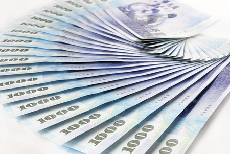 1000 New Taiwan Dollars bill on white background