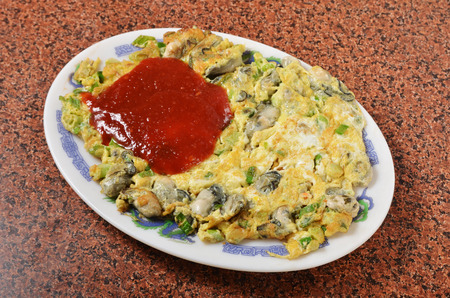 omelet: The Taiwan distinctive traditional snack of oyster omelet.
