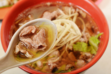 Mutton soup , famous snack food at night market in Taiwan.