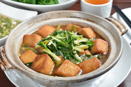 bean curd: Green onions with chicken tofu in clay pot Stock Photo