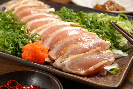 Close up of chicken sashimi