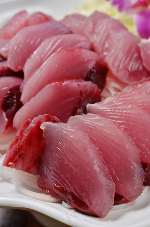 meat diet: Close up of yellowfin tuna sashimi