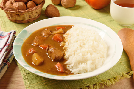 curry chicken: Chicken curry with rice on a plate Stock Photo