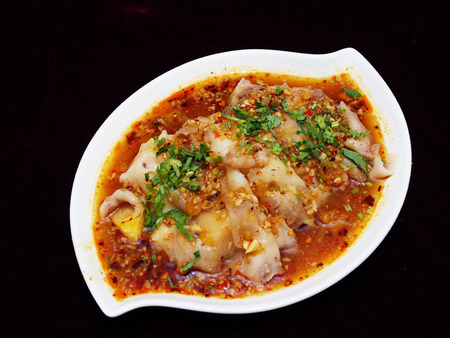 spicy food: Chinese food yunnan cuisine, Sliced pork with special sauce Stock Photo