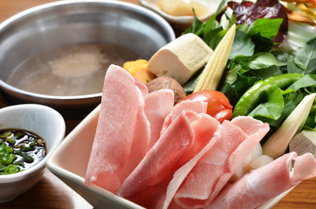 Chinese hot pot with meat, tofu, vegetable, Stock Photo