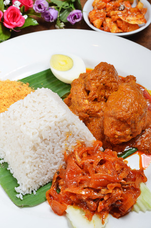 diet dinner: Malaysian rice dish, chicken curry rice Stock Photo