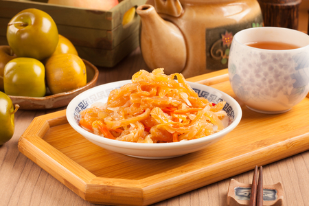 chinese food: Chinese seafood cuisine. Jellyfish salad