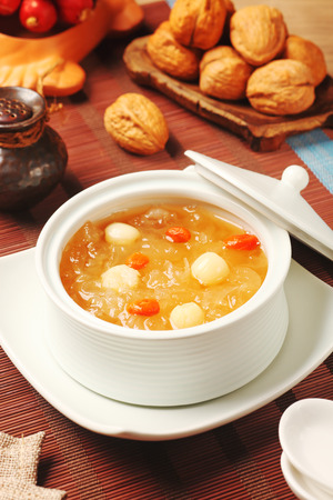 the fungus: Chinese traditional dessert - Sweet white fungus and lotus seeds soup Stock Photo