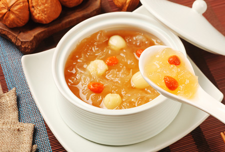 Chinese traditional dessert - Sweet white fungus and lotus seeds soup Stock Photo
