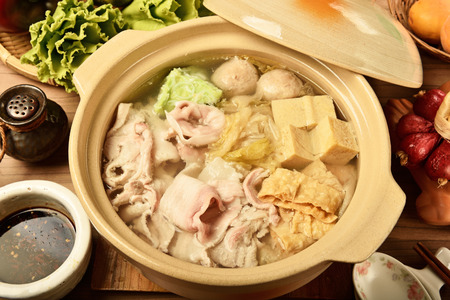 pots: Chinese pickled cabbage and pork in a hot pot