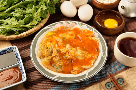 omelette: The Taiwan distinctive traditional snack of oyster omelet