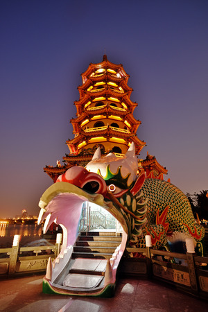 tiers: Beautiful view of the Tiger and Dragon Pagodas at the Lotus Lake in Kaohsiung