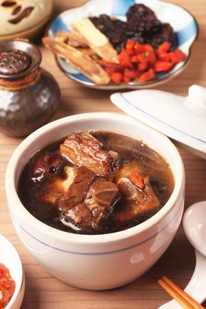 pork rib: Pork chops in Chinese medicine soup.