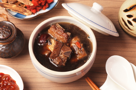 Pork chops in Chinese medicine soup.