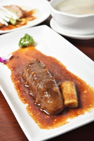 sea cucumber: Chinese seafood cuisine. Braised sea cucumber