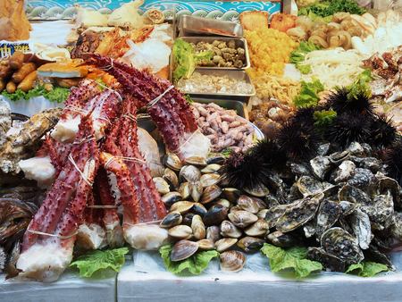 night market: Prepared seafood to be sold in Keelung night market