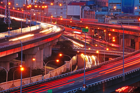 City interchange at night in taipei Stock Photo