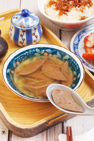 popular soup: Pig liver soup is a popular street food in Taiwan