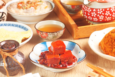 fermented: A plate of fermented bean curd on the dinner table