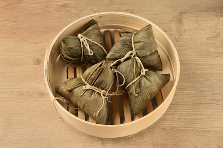 dumpling: Chinese tradition food - steamed rice dumpling Stock Photo
