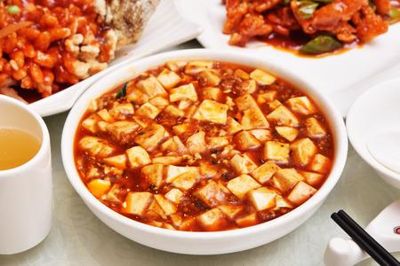 Sichuan mapo tofu, chinese food Foto de archivo
