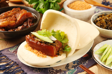 Taiwans traditional food - Gua Bao (Steamed sandwich) Stock Photo