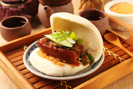 Taiwans traditional food - Gua Bao (Steamed sandwich) Reklamní fotografie
