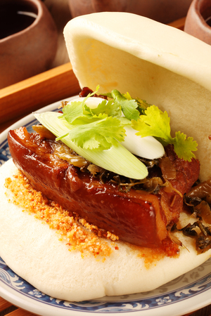 Taiwans traditional food - Gua Bao (Steamed sandwich) Banco de Imagens