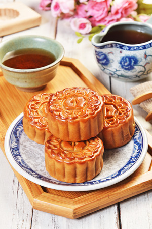 Moon cake and tea, Chinese mid autumn festival food