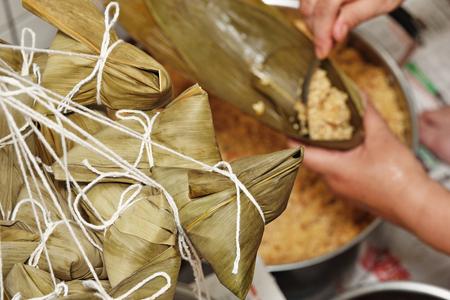 Procedure step of making rice dumpling on Dragon Boat Festival