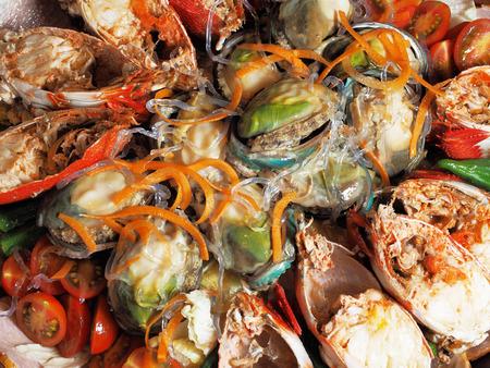 Close up of seafood salad