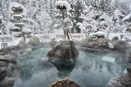 Open air hot spring in snow winter,Japan Banco de Imagens - 112521696