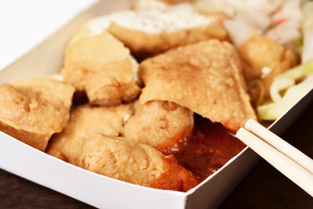 Stinky tofu in takeout food box