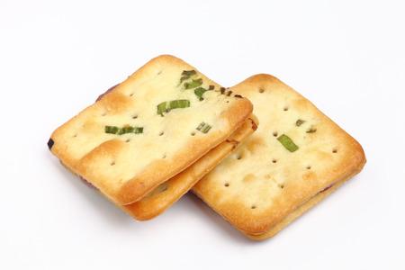 Scallion cookie nougats on white background