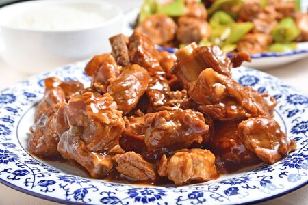 Delicious Chinese dish - Spareribs braised in brown sauce