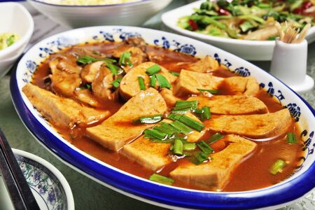 Soy sauce braised tofu, a popular chinese dish Stock Photo